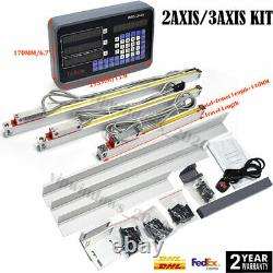2Axis/3Axis DRO Display Digital Readout 5µm TTL Linear Scale CNC Mill Lathe Kit