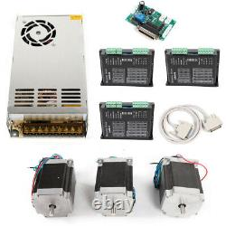 3 Axis CNC Kit 12Nm 270oz. In Nema 23 Stepper Motor 4.2A & Driver CNC Mill Router