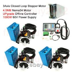 3Axis 4.5NM Closed Loop Stepper Driver Motor Nema34 &Controller Kit For CNC Mill