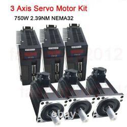 3Axis 750W Nema32 AC Servo Motor 2.39NM Driver Kit for CNC Mill Engraving ToAuto