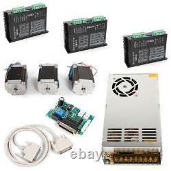 3PC 3 Axis Nema 23 Stepper Motors 4.2A CNC Router Kit 270 oz-in Driver
