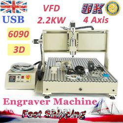 4 Axis CNC 6090 Router Engraver Wood Cutting Milling Carving Machine USB DIY KIT