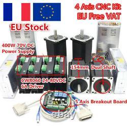 4 Axis Nema 34 Stepper Motor 1600oz-in 5A dual shaft& Driver Mach3 Board CNC kit