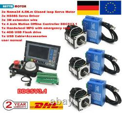 4 Axis Nema34 4.5N. M Closed Loop Stepper Motor Servo Driver CNC Controller Kit