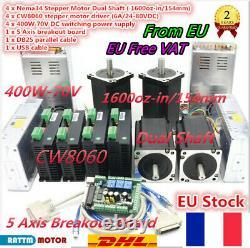 4 Axis mach3 control cnc kit Nema34 stepper motor 5A 1600oz-in &Driver&powerFR