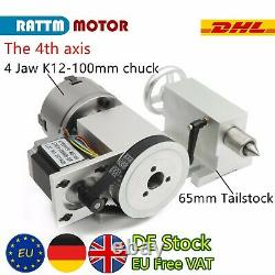 4 Jaw K12-100mm Chuck 4th Axis Rotation Fourth+65mm Tailstock CNC Router KitGB