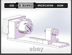 61 4th A Axis Sliding Rail Rotary Axis Belt Drive 4Jaw 80mm Lathe Chuck Kit CNC
