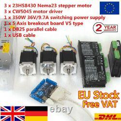 AT DE3 Axis Mach3 Controller CNC Kit Nema 23 Stepper Motor Driver 270oz. In 3A