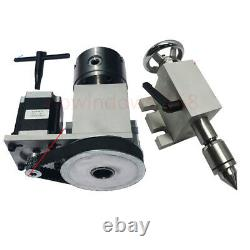 CNC Rotary 4th Axis MT2 Tailstock 3-jaw 80mm Lathe Chuck Woodworking Router Kit