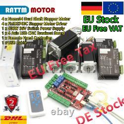 DE 4 Axis Nema 23 Stepper Motor 425oz-in 3A dual shaft+4pcs Driver USB CNC Kit