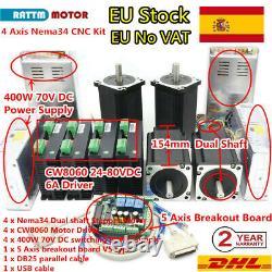 ES 4 Axis Nema34 12Nm Stepper Motor Driver 70V CNC Router Mach3 Controller Kit