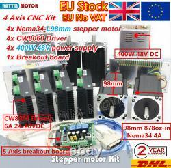 EU 4 Axis LPT Mach3 CNC Controller Kit Nema 34 Stepper Motor 878Oz-in&4P Drivers