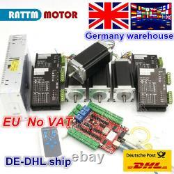 EU 4 Axis Nema23 112mm Stepper Motor 425oz-in Dual Shaft CNC&Driver USBCNC Kit