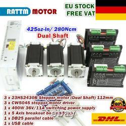 EU3 Axis Nema23 112mm Dual Shaft 425oz Stepper Motor 3A+CW5045 Driver CNC Kit