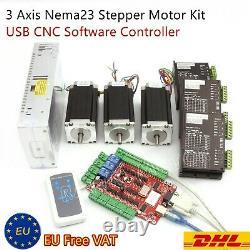 EU3 Axis USB CNC Controller Kit NEMA23 425oz-in 112mm stepper motor+3Pc Driver