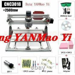 FedEx /DHL3Axis 2500MW Laser Engraving Machine CNC3018 DIY Router Milling Kit GR