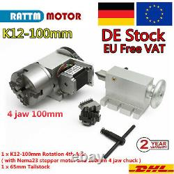 Ger CNC Router Kit K12-100mm 4 Jaw Chuck 4th Axis Rotation A Fourth+ Tailstock