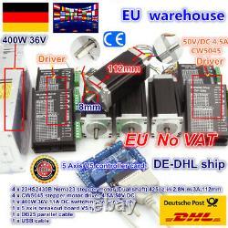 UK&EU4 Axis Nema23 stepper motor 425oz-in 112mm Dual Shaft& 36V driver CNC Kit