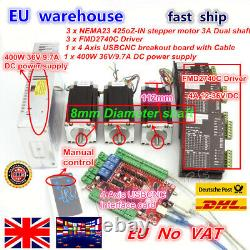 UK3 Axis Nema 23 Dual Shaft Stepper Motor 425oz-in&4A USB CNC Driver Board Kit