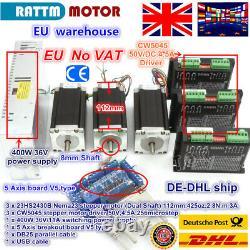 UK3 Axis Nema23 Stepper Motor 425oz-in/112mm &CW5045 Driver 50VDC 4.5A CNC Kit