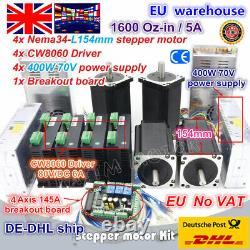 UK4 Axis Nema34 154mm Stepper Motor 1600Oz-in Dual Shaft&6A 80V Driver CNC Kit