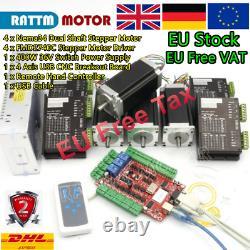 UK4 Axis USB CNC Nema23 Stepper Motor 425oz. In 112mm& 4A Driver Controller Kit