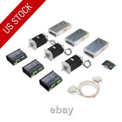 US FREE SHIP 3Axis Nema 34 Stepper Motor Dual Shaft1600oz CNC kit or MILL LONGS