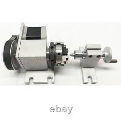 Woodworking Rotary Axis&Tailstock CNC Rotuer 4th Axis 3-jaw Lathe Chuck 63MM Kit